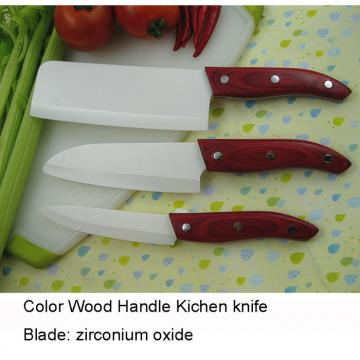 WHL-KFC041 3 pcs Ceramic KItchen Knife Set with Color Wooden Handle