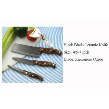 WHL-KFC037 4 pcs Black Blade Ceramic Knife with Color Wood Handle>