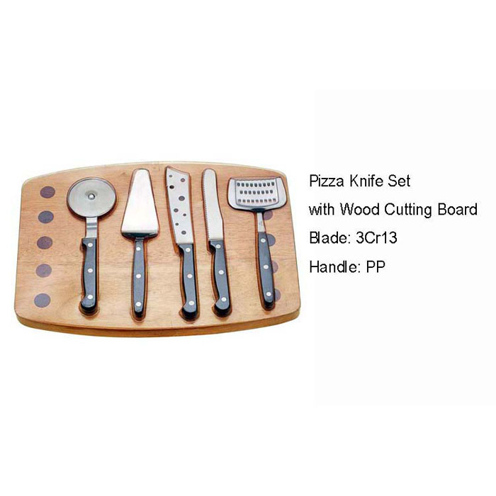 WHL-KFP008  5 pcs Pizza Knife Set with Wood Cutting Board
