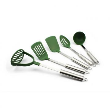 WHL-KTN035 5 pcs Nylon Kitchen Tool Set with Stainless Steel Handle