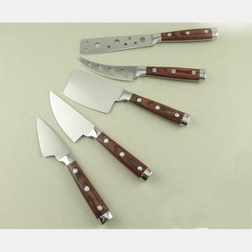 WHL-KFF040 5 pcs Double Forged Cheese Knife Set with Wood Handle
