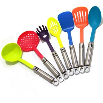WHL-KTN039 7 pcs Colorful Nylon Kitchen Tool with Stainless Steel Handle