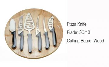 WHL-KFP009 6 pcs Pizza Knife Set with Round Wooden Cutting Board