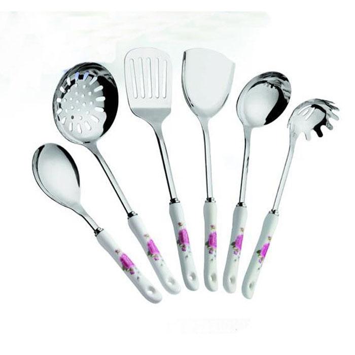 SS Kitchen Cooking Tools With Ceramic Handle WHL-KTS037
